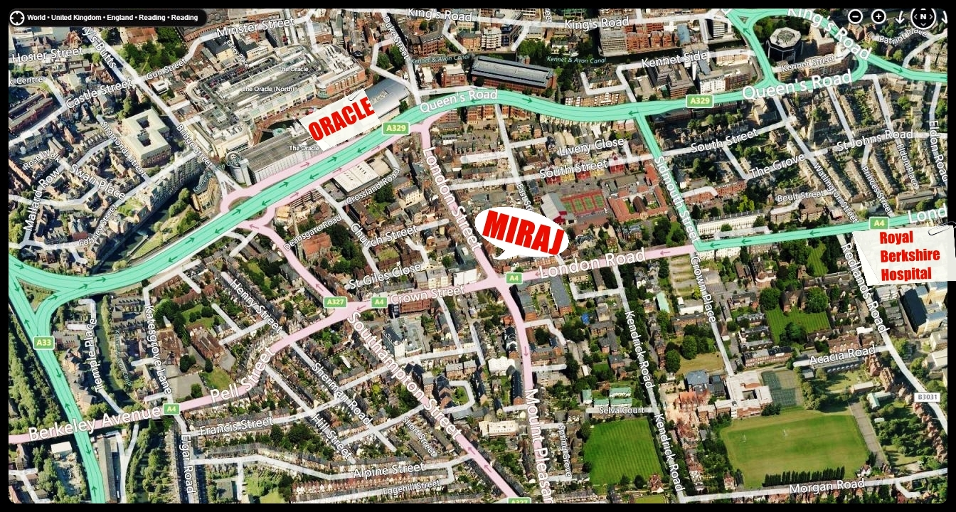 Miraj direction map showing the Oracle shopping centre & Royal Berks Hospital
